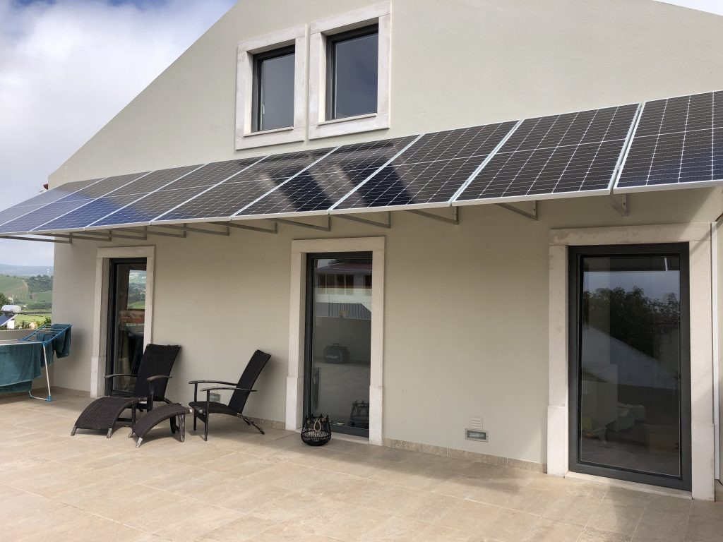 4 kW solar panels on the outside wall
